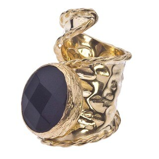 18k Gold over Silver Adjustable Onyx Ring - Black
