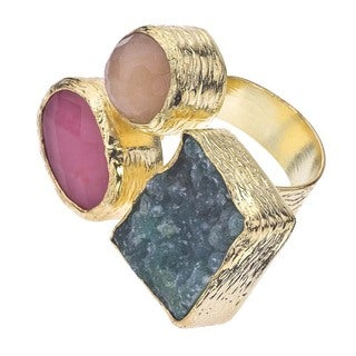 18k Gold over Silver Quartz and Druzy Floating Ring
