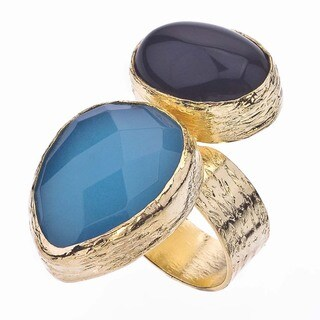 18k Gold over Silver Quartz and Black Opaque Ring