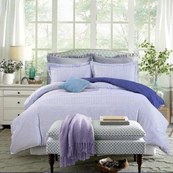 Bedsure Ultra Soft Reversible Blue and White Plaid Duvet Cover Set