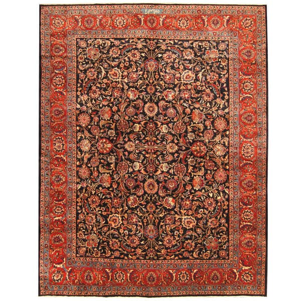 Herat Oriental Persian Hand-knotted Tribal Mashad Wool Rug (10' x 12'9)