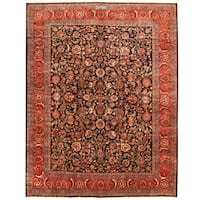Herat Oriental Persian Hand-knotted Tribal Mashad Wool Rug - 10' x 12'9