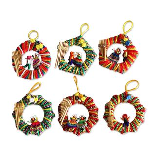 Set of 6 Musical Wreath Ornaments (Peru)