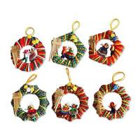 Handmade Set of 6 Musical Wreath Ornaments (Peru)