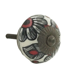 Sunflower White/Black/Red Metal Floral Design Knobs (Pack of 6)