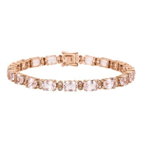 Anika and August 14k Rose Gold Morganite and 1/2ct TDW Diamond Bracelet (G-H, I1-I2)