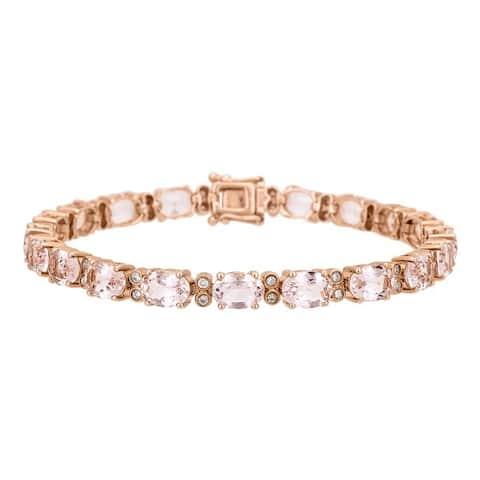 Anika and August 14k Rose Gold Morganite and 1/2ct TDW Diamond Bracelet (G-H, I1-I2)