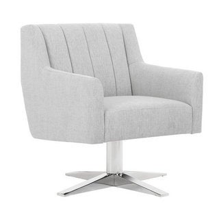 Sunpan Central Park White Fabric Swivel Chair