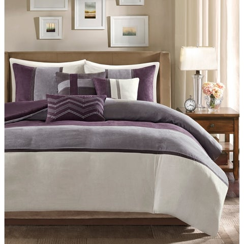 Madison Park Hanover 6 Piece Faux Suede Duvet Set 2-Color Option