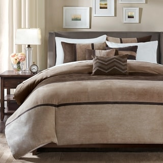 madison park hanover brown solid pieced 6 piece duvet cover set option queen