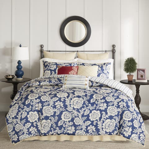 Copper Grove Tetagouche Navy Cotton Twill Reversible 9-piece Duvet Cover Set