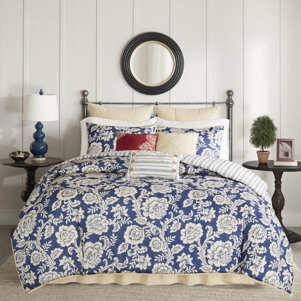 Madison Park Georgia Navy Cotton Twill Reversible 9-piece Comforter Set