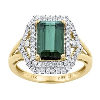 Anika and August 14k Yellow Gold Green Tourmaline and 1/2ct TDW Diamond Ring (G-H, I1-I2)