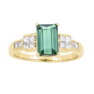 Anika and August 14k Yellow Gold Green Tourmaline and 1/2ct TDW Diamond Ring (G-H, I1-I2)