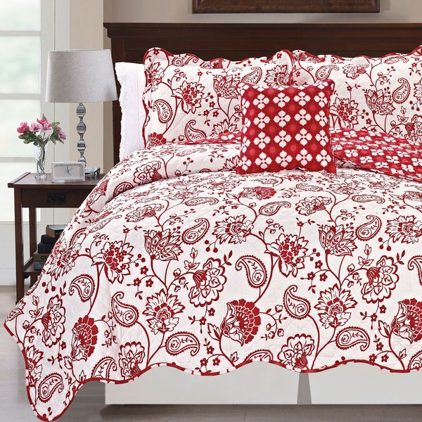 Printed Paisley Flower 4-piece Reversible Quilted Coverlet Set. Opens flyout.