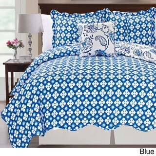 Printed Paisley Flower 4-piece Reversible Quilted Coverlet Set