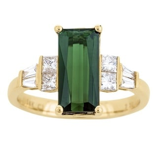 Anika and August 14k Yellow Gold Green Tourmaline and 2/5ct TDW Diamond Ring (G-H, I1-I2)