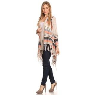 High Secret Women's Fringed Knit Open-front Cardigan