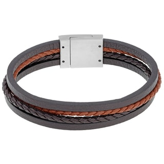 Stainless Steel and Multicolor Leather Bracelet