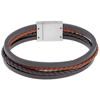 Stainless Steel and Multicolor Leather Bracelet - Brown