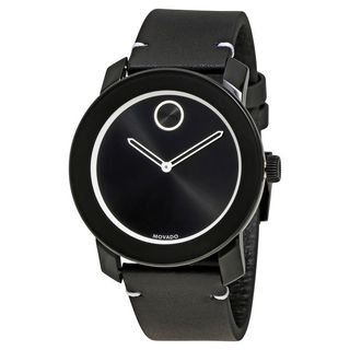 Movado Men's 3600385 'Bold' Black Leather Watch