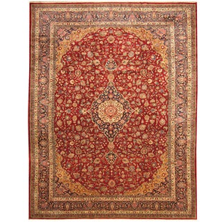 Herat Oriental Persian Hand-knotted Tribal Sarouk Wool Rug (10'6 x 13'10)