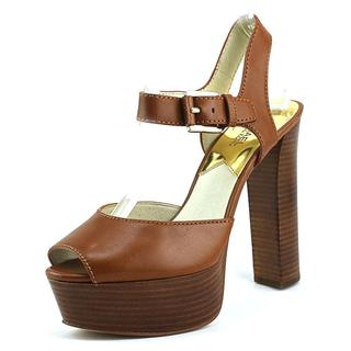 Michael Kors Women's 'London Open Toe' Brown Leather Dress Shoes