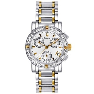 Bulova Women's 98R98 Two Tone Stainless Steel Chronograph Watch with 16 Diamonds