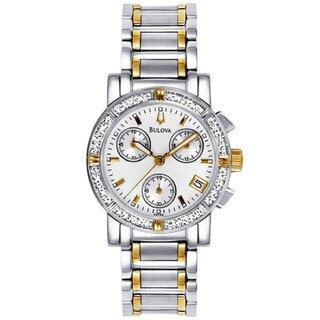 Bulova Women's 98R98 Two Tone Stainless Steel Chronograph Watch with 16 Diamonds