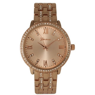 Olivia Pratt Women's Rhinestone Basket Link Fashion Bracelet Watch