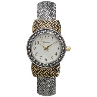 Olivia Pratt Women's Metal Alloy Link Pattern Cuff Fashion Watch