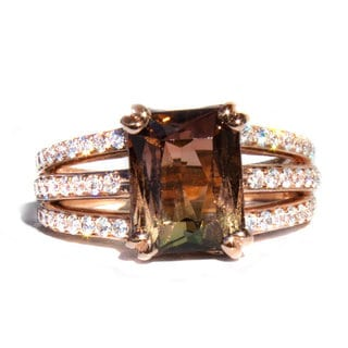 California Girl Jewelry 18k Rose Gold 4.42ct TGW Tri-color Tourmaline and Diamond Ring