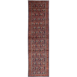 eCarpetGallery Malayer Blue/Brown Wool Hand-knotted Rug (3'5 x 13'3)