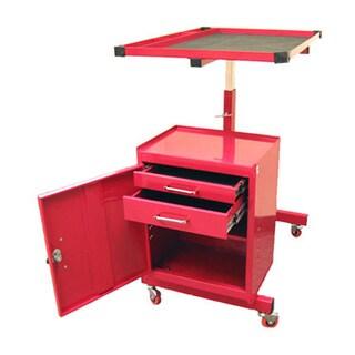 ExcelHardware Red Metal 2-drawer Adjustable Height Rolling Tool Storage Cart