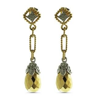 14k Yellow Gold Diamond-cut Gold Gemstone Teardrop Earrings