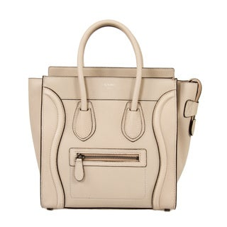 Celine Micro Beige with Gold Hardware Leather Handbag