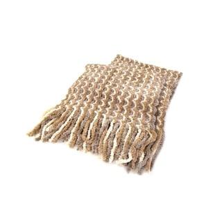 Vellium Beige Acrylic/Knit Hypoallergenic Chenille Striped Scarf