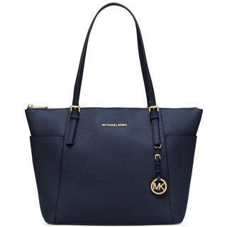 Michael Michael Kors Jet Set Admiral Blue Leather East West Top-zip Large Tote
