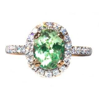California Girl Jewelry 18k Two-tone Gold Merelani Mint Garnet and Diamond Ring