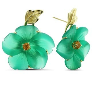 Marc & Ivy 14k Yellow Gold Green Agate Flower Earrings