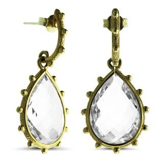 Marc & Ivy 14k Yellow Gold Crystal Quartz Teardrop Earrings