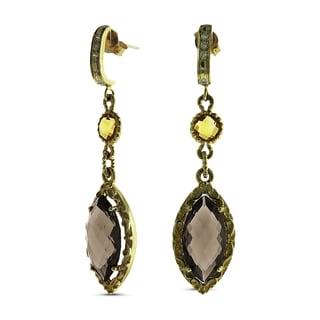 Marc & Ivy 14k Yellow Gold Smokey Quartz, Citrine, Diamond Accent Dangle Earrings