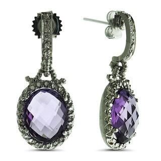 Marc & Ivy 14k White Gold 1/8ct TDW Diamond and Amethyst Dangle Earrings (H-I, I1-I2)