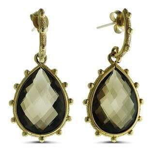 Marc & Ivy 14k Yellow Gold Smokey Quartz Teardrop Earrings