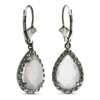 Marc & Ivy 14k White Gold Rose Quartz and Diamond Accent Teardrop Earrings