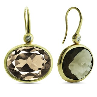 Marc & Ivy 14k Yellow Gold Oval Smokey Quartz and Diamond Accent Earrings
