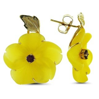 Marc & Ivy 14k Yellow Gold Carved Yellow Agate Flower Earrings
