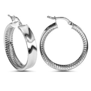 White Sterling Silver Round Textured Hoop Earrings