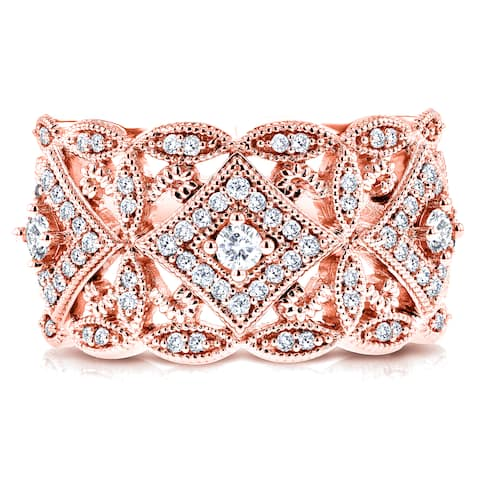 Annello by Kobelli 10k Rose Gold 1/2ct TDW Diamond Antique Filigree Wide Anniversary Ring