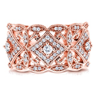 Annello 10k Rose Gold 1/2ct TDW Diamond Antique Filigree Wide Anniversary Ring (Option: 4.5)